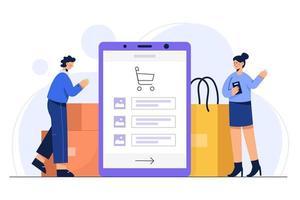 ilustração vetorial conceito on-line de compras com produto de pedido de telefone móvel no pacote e saco de embarque. vetor