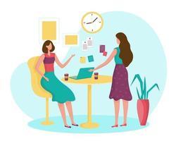 duas mulheres se reunindo tempo juntos na sala de reuniões com o computador portátil. vetor