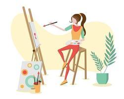 artista pintando sobre tela em estúdio. ilustração vetorial para pintura, desenho, escola de arte, conceito de comunidade. vetor