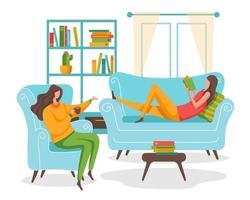 uma jovem refrescou a manhã com um novo livro em sua sala. ela pode ler livros e ver as obras de arte nesta sala. vetor