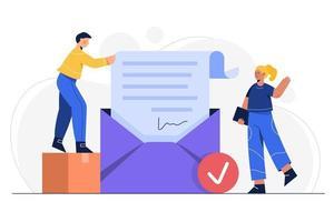 ilustração vetorial conceito de proteção de e-mail. e-mail - envelope com documento de arquivo e segurança do sistema de arquivo anexado aprovado. vetor