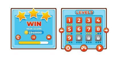 conjunto completo de pop-up, ícone, janela e elementos do jogo de botão de nível para a criação de videogames rpg medievais vetor