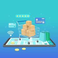 banner de compras online, modelos de aplicativos móveis, design plano de conceito vetor