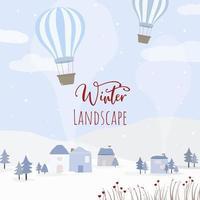 vetor de casas, balão e florestas cobertas de neve