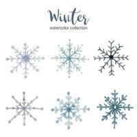 coleção aquarela de inverno com ramos que simbolizam aquarela fria de inverno. vetor