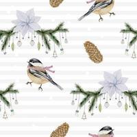 padrão sem emenda com pássaros em aquarela de inverno e ramos vetor
