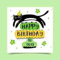 cartão de feliz aniversário decorado com um gato preto com um chapéu de natal vetor