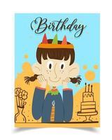 um cartão de aniversário decorado com uma garota coroada vestindo uma blusa azul. vetor