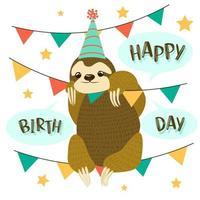 cartões de aniversário decorados com animais-preguiça em uma corda com bandeiras triangulares. vetor