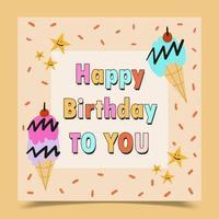 cartão de feliz aniversário decorado com sorvete e estrelas vetor