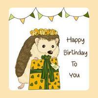 cartão de feliz aniversário decorado vetor