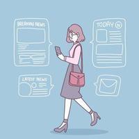 as pessoas usam smartphones para receber notícias do dia a dia. vetor