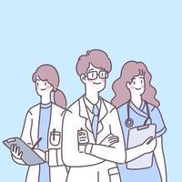 médicos, enfermeiras e auxiliares se preparam para tratar os pacientes. vetor
