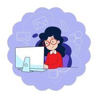 mulheres jovens usam computadores para trabalhar para reduzir a infecção. vetor