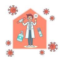 O médico recomenda o uso de luvas, máscaras e desinfetante para as mãos para prevenir infecções. vetor