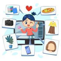 linda mulher influenciadora usa o computador enquanto vive na internet vetor
