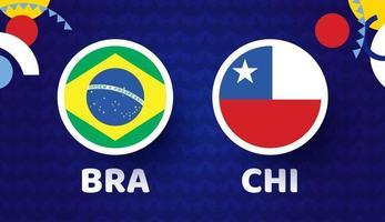 ilustração vetorial jogo brasil vs chile campeonato de futebol 2021 vetor