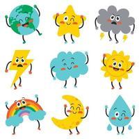 personagens fofinhos do tempo dos desenhos animados posando vetor