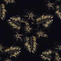 padrão sem emenda luxo ouro hibisco e flores de lírio e folhas de palmeira em background.vector ilustração linha arte desenho. vetor