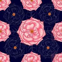 padrão sem emenda lindo ping flores rosa em abstrato bllue escuro background.vector ilustração mão arte de linha de desenho. vetor