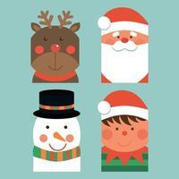 conjunto de etiquetas de Natal e ano novo com ilustração em vetor duende boneco de neve e Papai Noel.