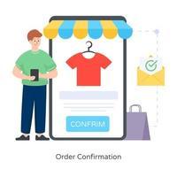 confirmação de pedido e compra vetor