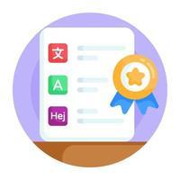 certificado de idioma e diploma vetor