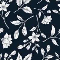 Padrão sem emenda clássico com design floral botânico vetor