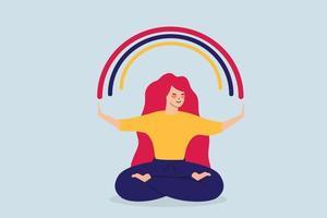 mulher feliz design plano senta-se em posição de ioga e abre os braços para o arco-íris colorido. garota com vibrações positivas desfruta de sua liberdade e alegria de vida. corpo de personagem feminina de uma garota de espírito positivo. vetor