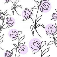 padrão com ilustração vetorial de flores e manchas vetor