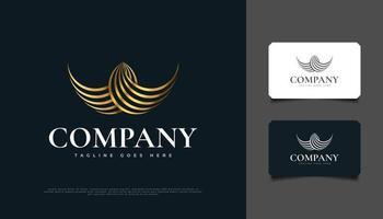 design de logotipo abstrato de asas douradas com estilo de linha vetor