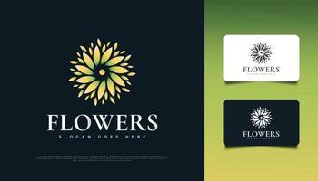 design de logotipo de bela flor em verde e amarelo, adequado para spa, beleza, floristas, resort ou identidade de produto cosmético vetor