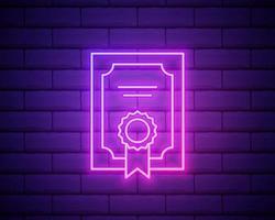 ícone de modelo de certificado de linha de néon brilhante isolado no fundo da parede de tijolo. conceitos de realização, prêmio, grau, bolsa, diploma. certificado de sucesso empresarial. ilustração vetorial. vetor
