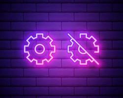 engrenagem, manutenção. ícone de vetor de néon rosa. símbolo de engrenagem brilhante isolado no fundo da parede de tijolos