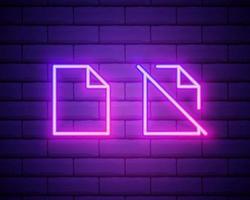 ícone de néon de feedback. elementos do conjunto de educação. ícone simples para sites, web design, aplicativo móvel, gráficos de informação isolados na parede de tijolos. vetor