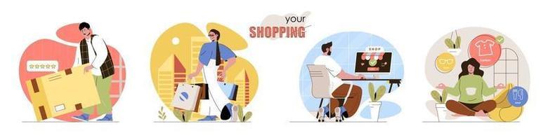 conjunto de cenas de conceito de compras vetor