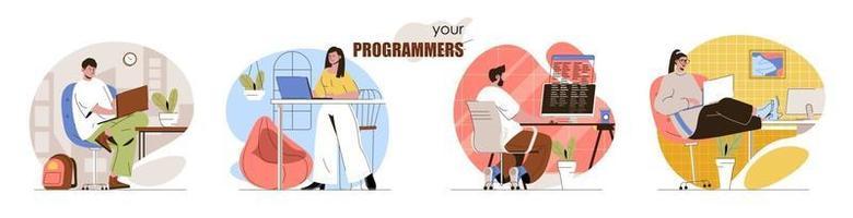 conjunto de cenas de conceito de programadores vetor