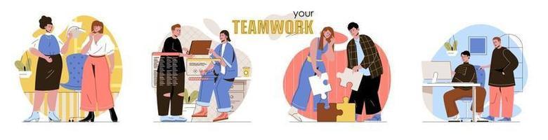 conjunto de cenas de conceito de trabalho em equipe vetor