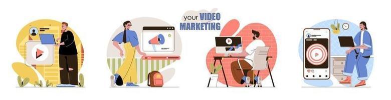 conjunto de cenas de conceito de marketing de vídeo vetor