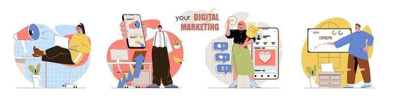 Conjunto de cenas de conceito de marketing digital vetor