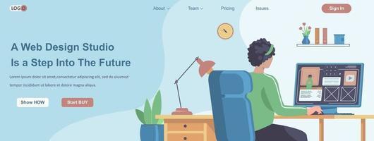estúdio de design da web é um passo para o futuro conceito de banner vetor