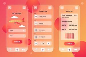 kit de elementos de vidro mórfico de reserva de viagens para aplicativo móvel vetor