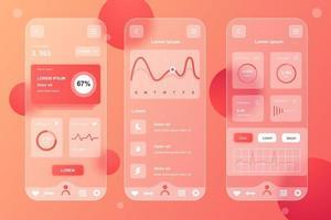 kit de elementos neumórficos de rastreamento de saúde para aplicativo móvel vetor