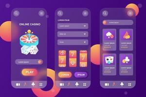 kit de elementos glassmorphic de cassino online para aplicativo móvel vetor