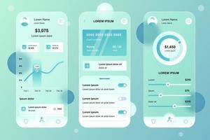 kit de elementos glassmorphic de banco on-line para aplicativo móvel vetor