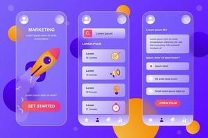 marketing de kit de elementos de vidro mórfico para aplicativo móvel vetor