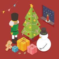 um boneco de neve e um biscoito de gengibre quebra-nozes olhando para uma caixa de presente ao redor da árvore de Natal. vista isométrica. vetor