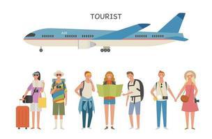 personagens turísticos e aviões. vetor