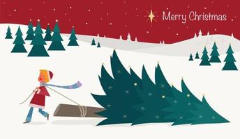 um menino está derrubando uma árvore de Natal em um dia de neve. vetor