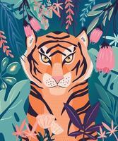 retrato de um tigre em uma selva rodeada de plantas coloridas. ilustração vetorial. vetor